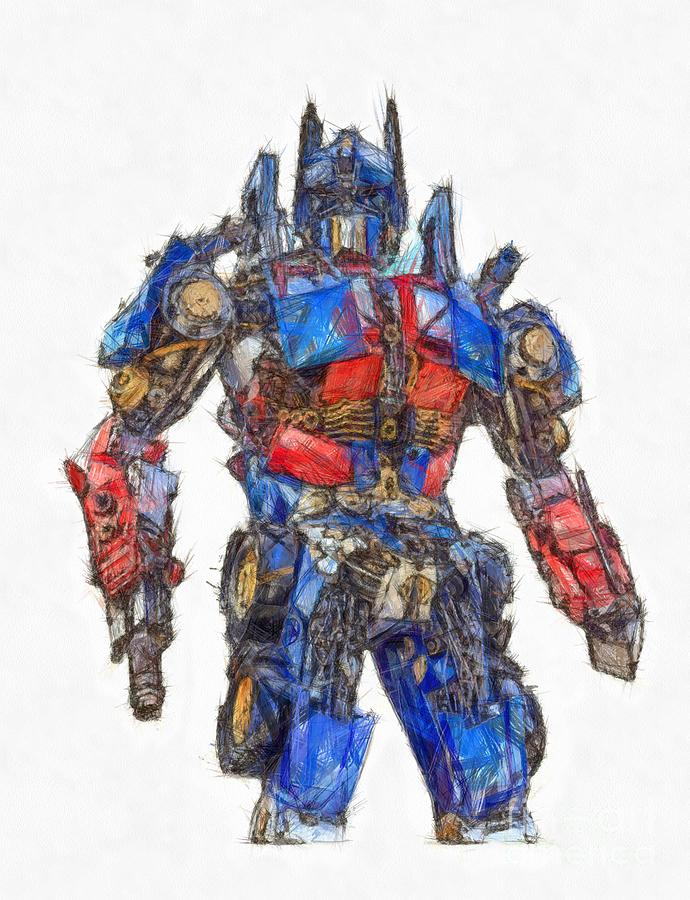 Transformers Optimus Prime Or Orion Pax Colored Pencil Drawing By