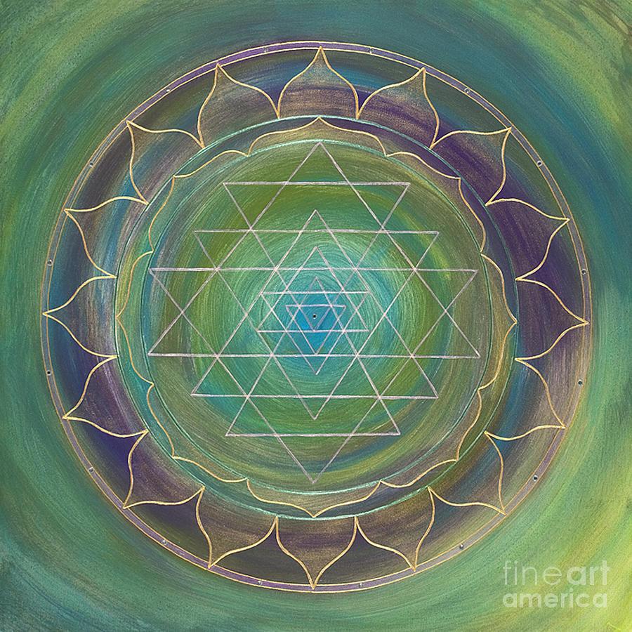Mandala Painting - Translucent Sri Yantra by Charlotte Backman
