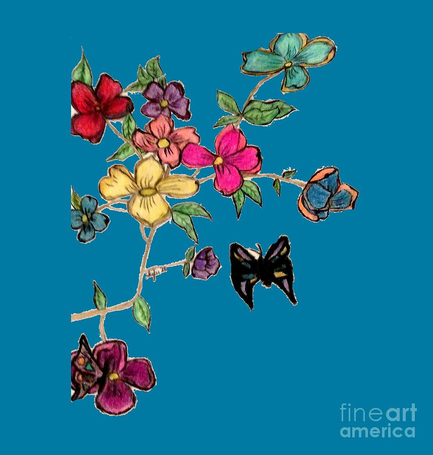 Flowers Mixed Media - Transparent Flowers And Butterflies In Color by Shylee Charlton