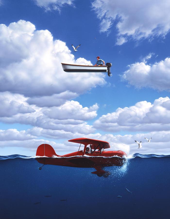 Boat Painting - Transportation by Jerry LoFaro