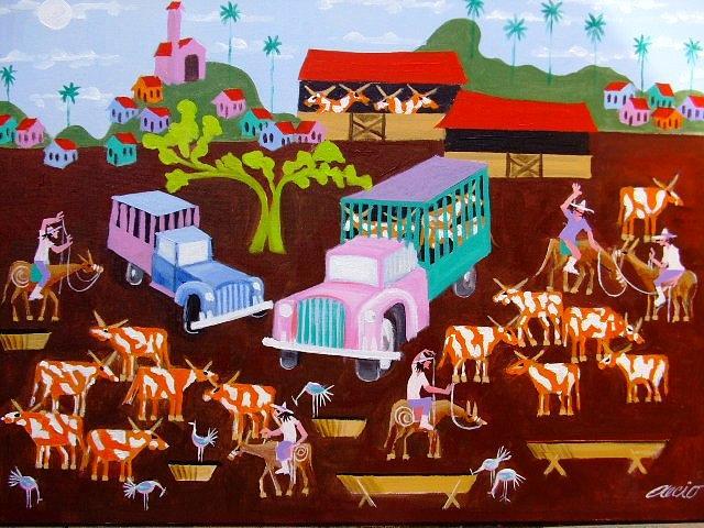 Transporte Do Gado Medida 50x70 A.s.t Painting by Aecio  Andrade