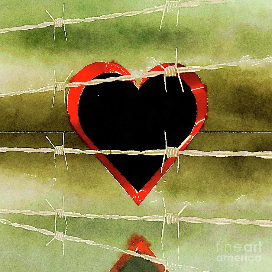 Heart Painting - Trapped Heart by Pierre Blanchard