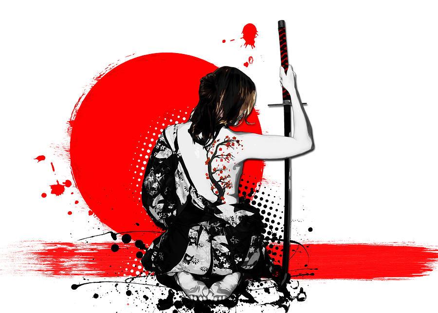 Samurai Digital Art - Trash Polka - Female Samurai by Nicklas Gustafsson