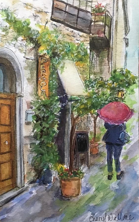Italy Painting - Trattoria Pergola by Cheryl Wallace