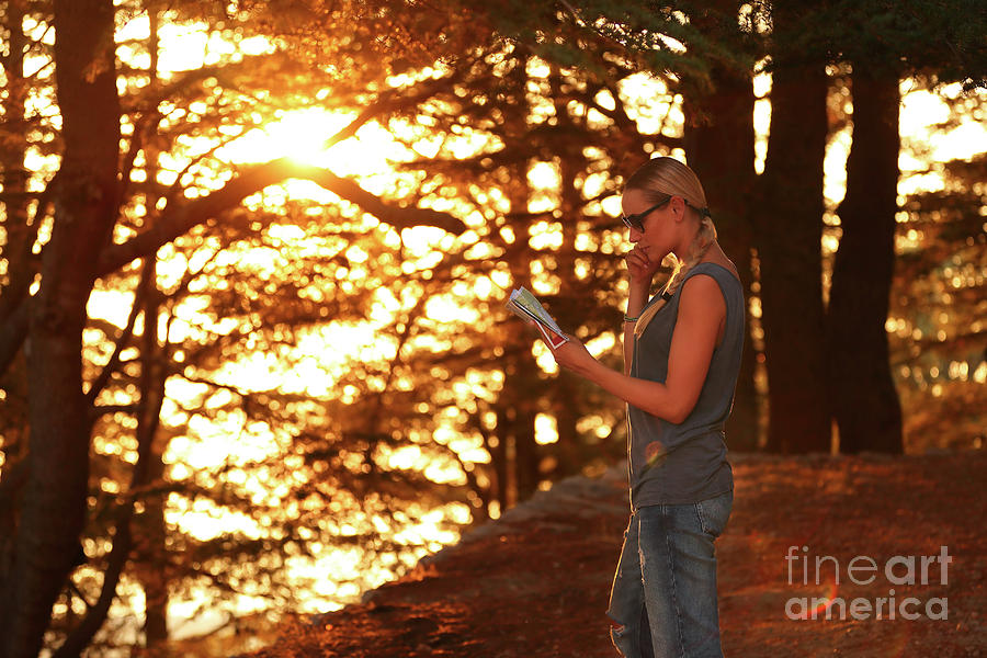Active Photograph - Traveler Woman In The Forest by Anna Om
