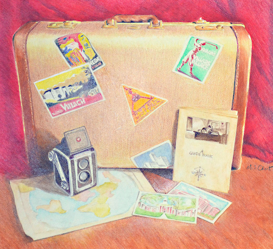 Colored Pencil Drawing - Traveling Back in Time by Mary Chant