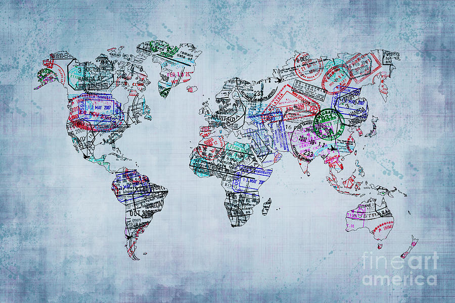 World Map Photograph - Traveler World Map by Delphimages Photo Creations