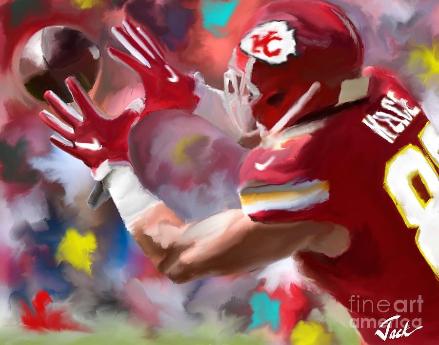 Kansas City Chiefs Painting - Travis Kelce by Jack Bunds