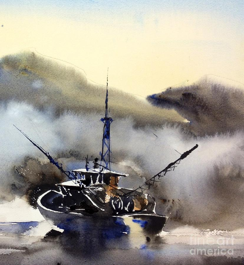 Watercolor Painting - Trawler In The Mist by John Byram