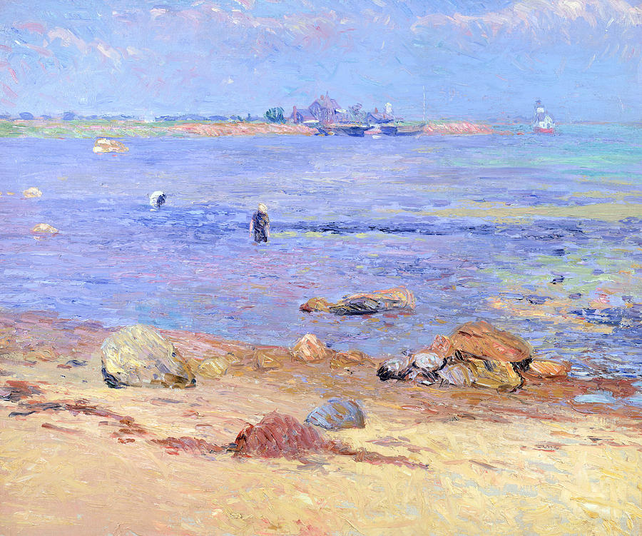 Treading Painting - Treading Clams At Wickford by William James Glackens