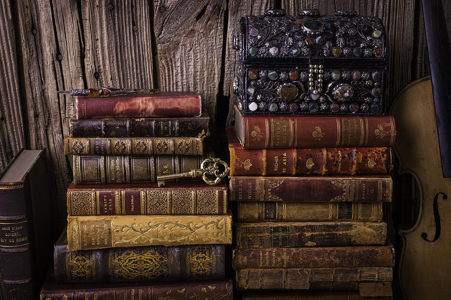 Key Photograph - Treasure Box On Old Books by Garry Gay