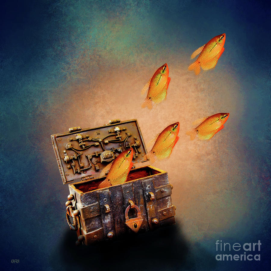 Treasure Chest Digital Art - Treasure Chest by KaFra Art