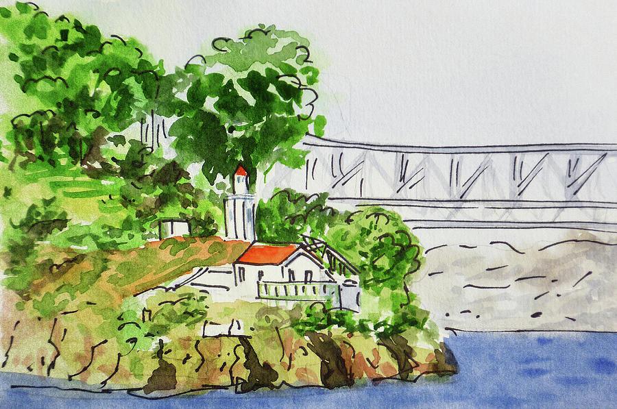 San Francisco Painting - Treasure Island - California Sketchbook Project  by Irina Sztukowski