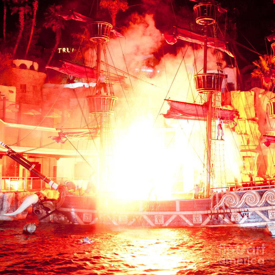 Las Vegas Photograph - Treasure Island Explosion by Andy Smy
