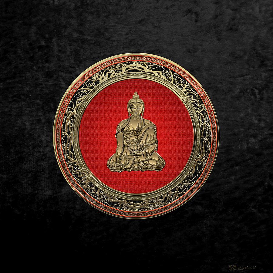 Buddha Digital Art - Treasure Trove - Gold Buddha On Black Velvet by Serge Averbukh
