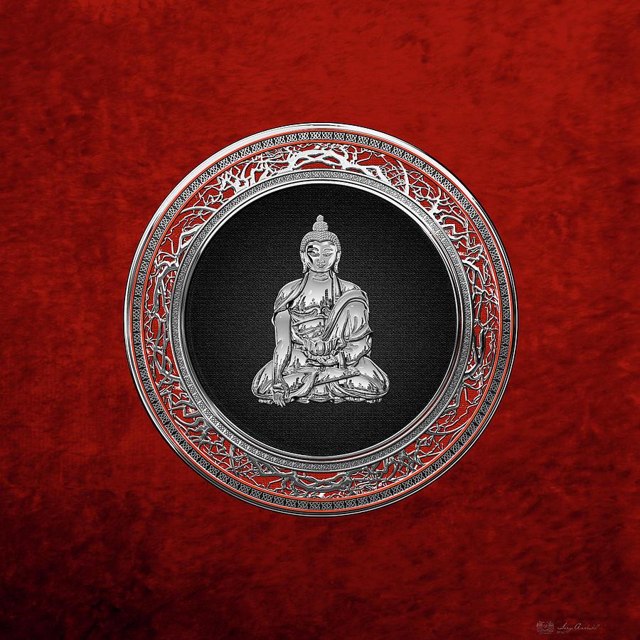 Buddha Digital Art - Treasure Trove - Silver Buddha On Red Velvet by Serge Averbukh