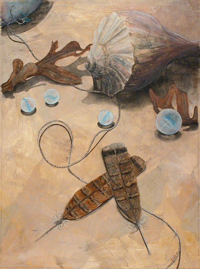 Seashell Painting - Treasures by Sandy Clift