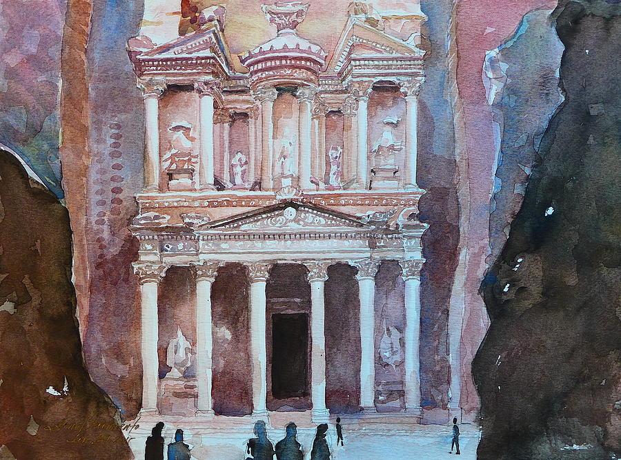 Petra Painting - Treasury Building Petra Jordan by Arnel Sarmiento