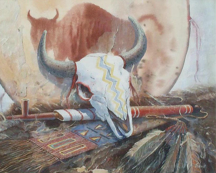 Buffalo Skull Painting - Treaties Remembered by Don Trout