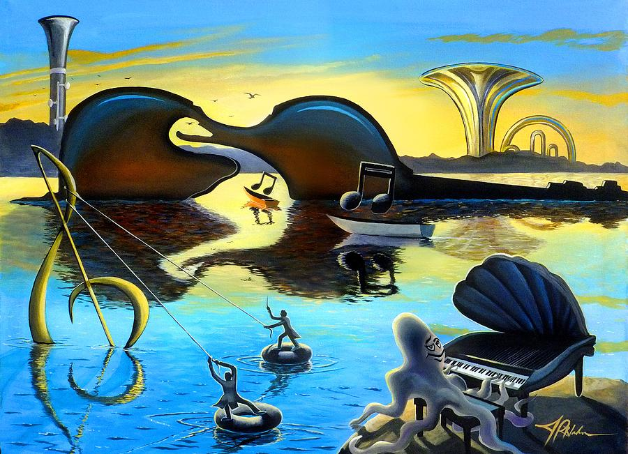 Music Painting - Treble In Paradise by James R Hahn