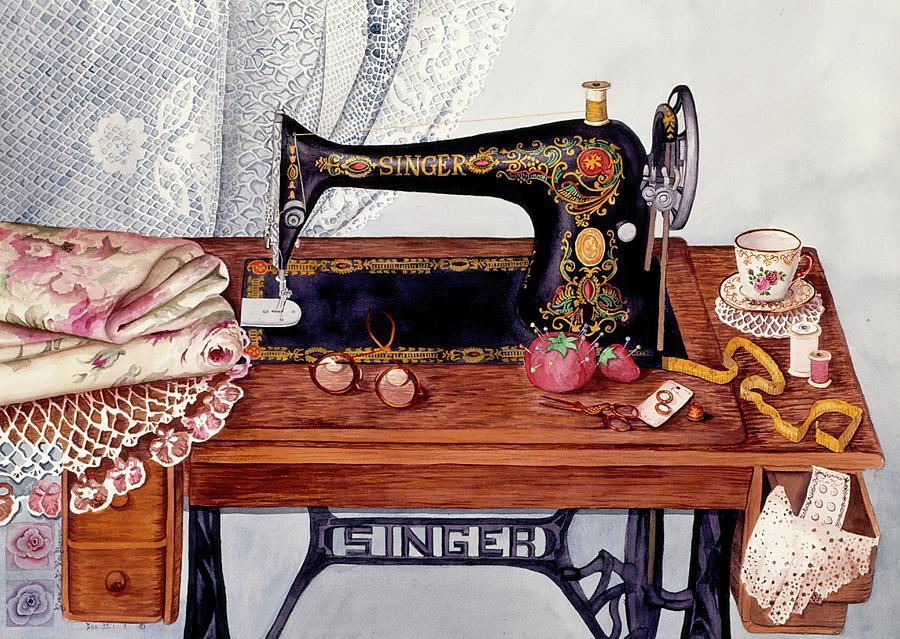Painted Sewing Machine Acrylic