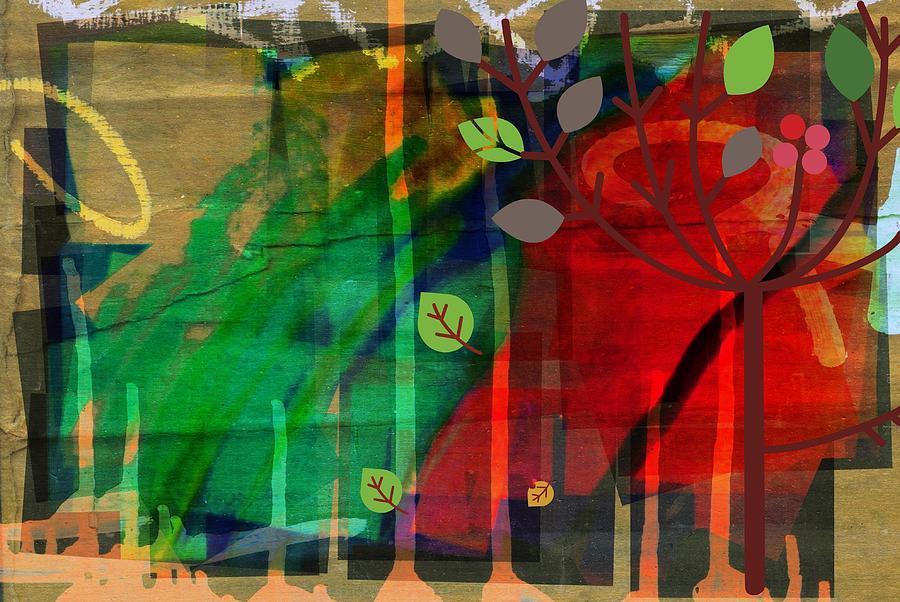 Nature Digital Art - Tree and a skewed rainbow by Joseph Ferguson