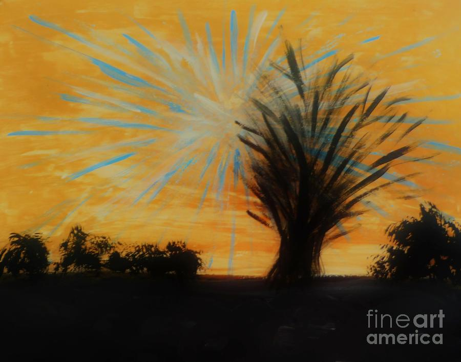 Tree And Lightning Painting by Marie Bulger