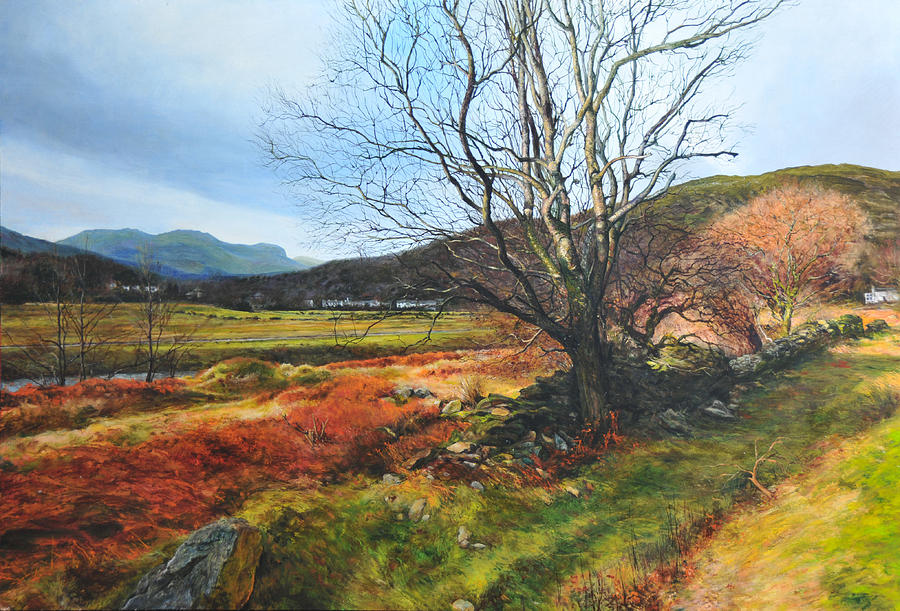 Landscape Painting - Tree At Aberglaslyn by Harry Robertson