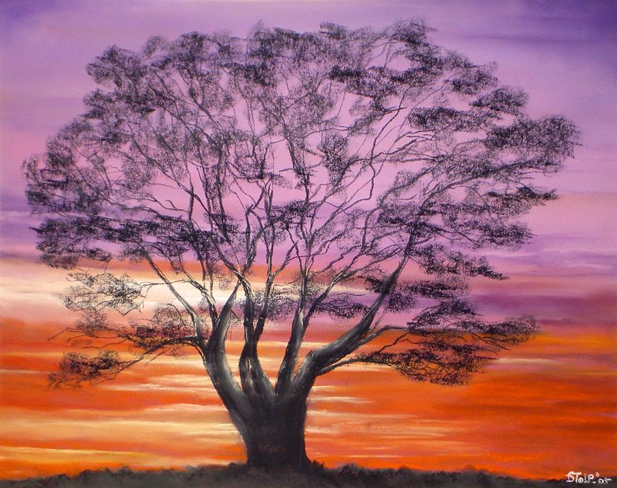Pastel Painting - Tree At Sunset by Dick Stolp