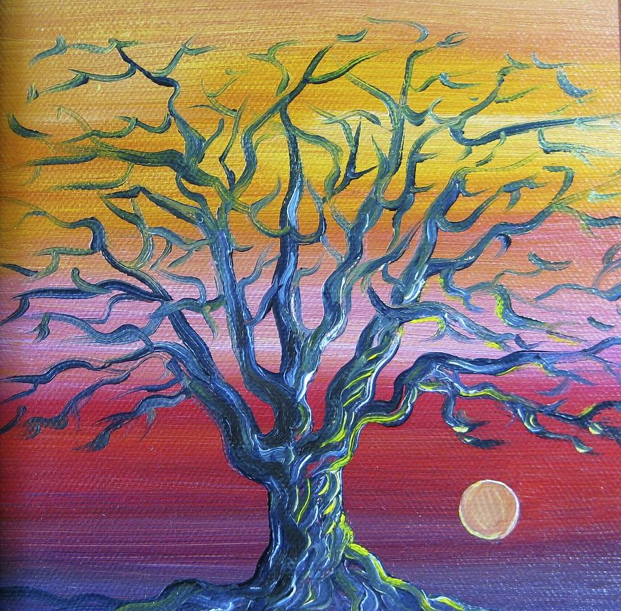 Tree Painting - Tree at Sunset by Karen Doyle
