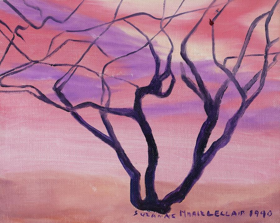 Tree Painting - Tree At Sunset by Suzanne  Marie Leclair