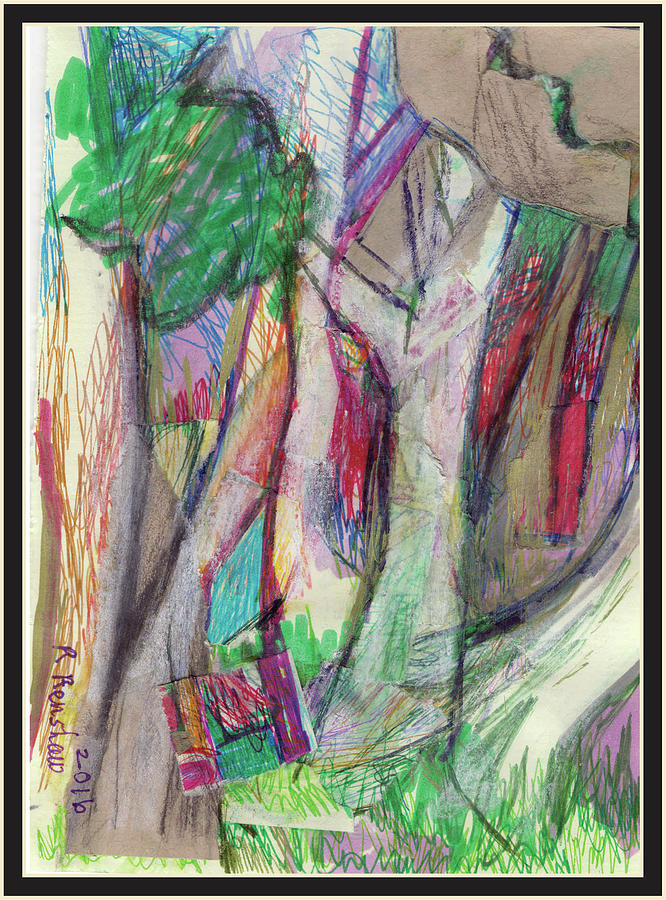 Mixed Media Drawing - Tree Collage by Ruth Renshaw