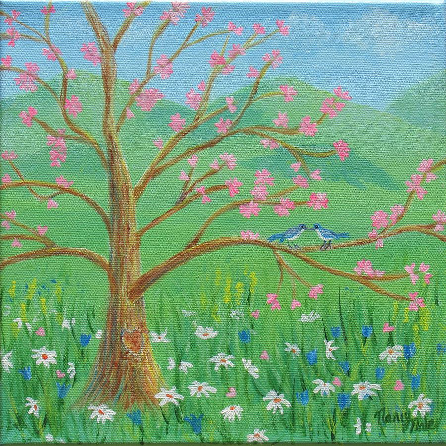 Tree Painting - Tree For Two by Nancy Nale