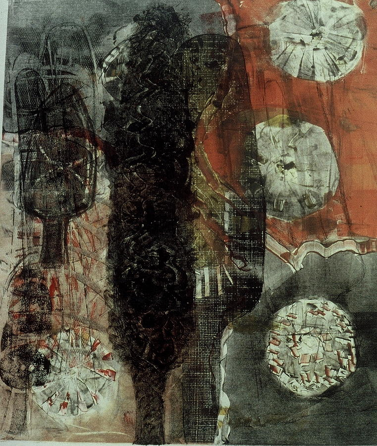 Monotype Print - Tree Fossils by Angela Dickerson
