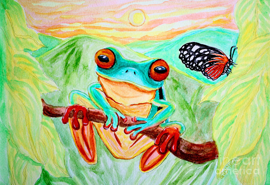 Tree Frog Painting - Tree Frog And Butterfly by Nick Gustafson