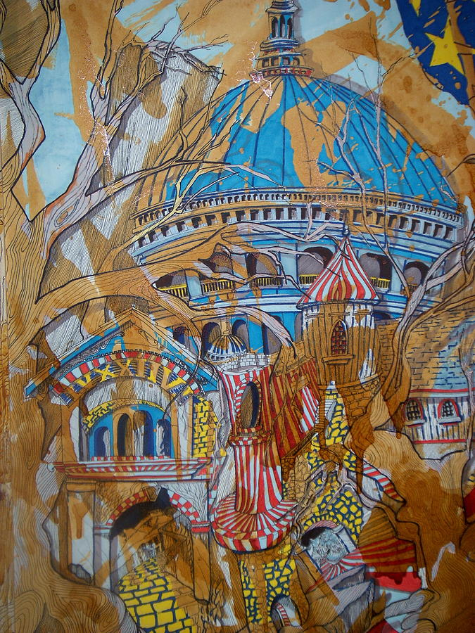 Urban Landscape Drawing - Tree House Big Government Blues - Detail by Scott Zbryk