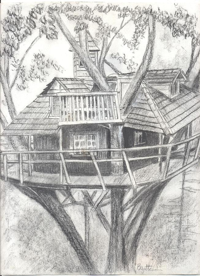 Tree House Drawing by Bridgitte McBride Flores