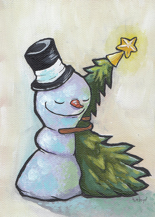 Snowman Painting - Tree Hugger by Tim Boyd
