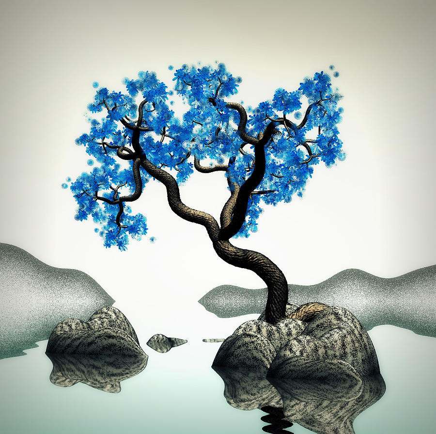 Tree In Blue Digital Art by GuoJun Pan