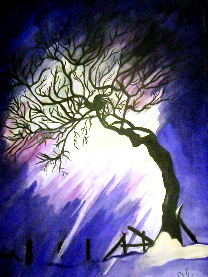 Tree Painting - Tree In Blue by Riham Osman