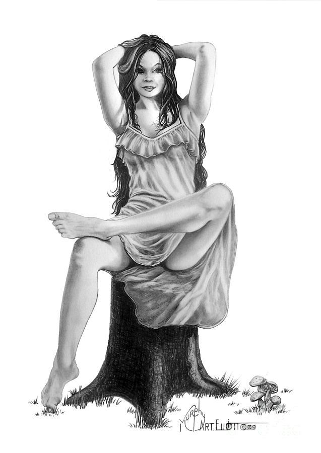 Figure Drawing Drawing - Tree Nymph by Murphy Elliott