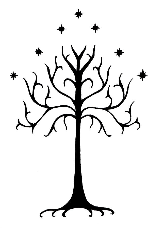 Ink Drawing - Tree Of Gondor Crest by Kayleigh Semeniuk