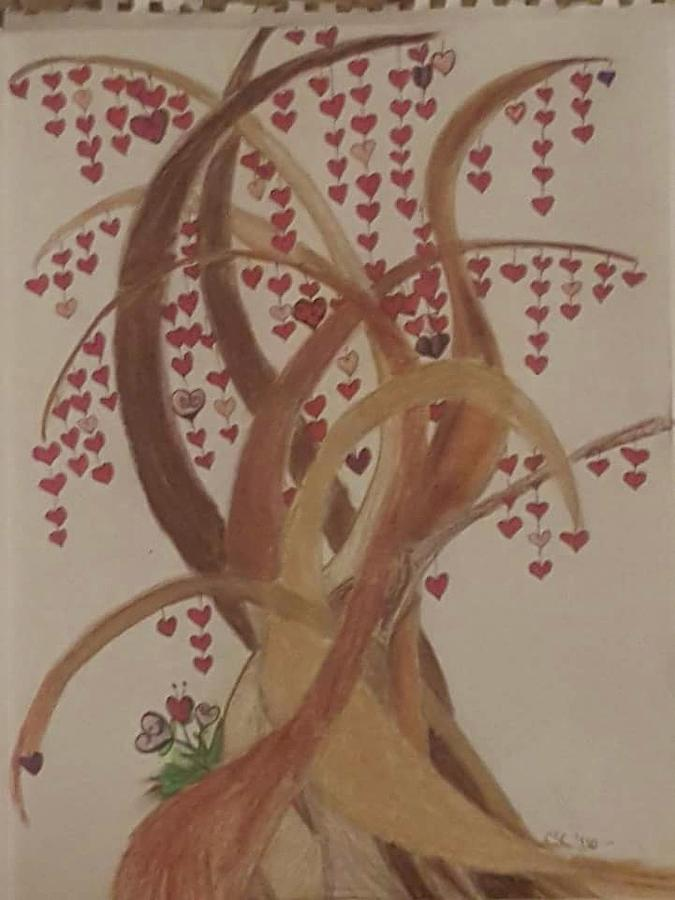 Tree Drawing - Tree Of Hearts by Cara Sullenger Carr