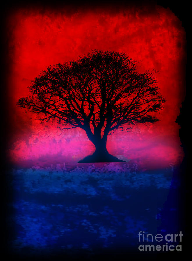 Original Painting - Tree Of Life - Red Sky by Robert R Splashy Art