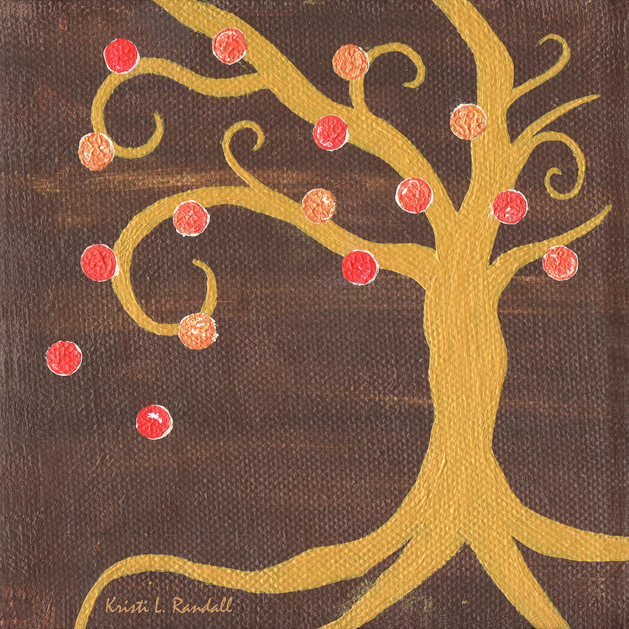 Adam And Eve Painting - Tree Of Life - Right by Kristi L Randall