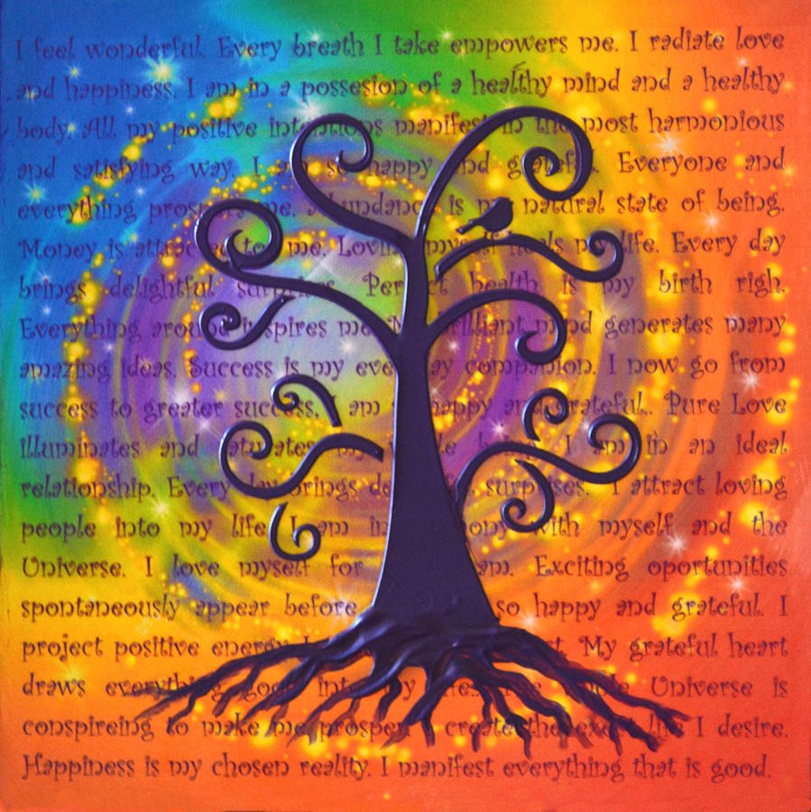 tree of life and positive affirmations painting by agata lindquist