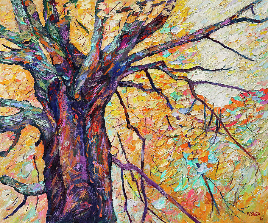 Oil Painting Painting - Tree Of Life And Wisdom   by Abraham  Fisher