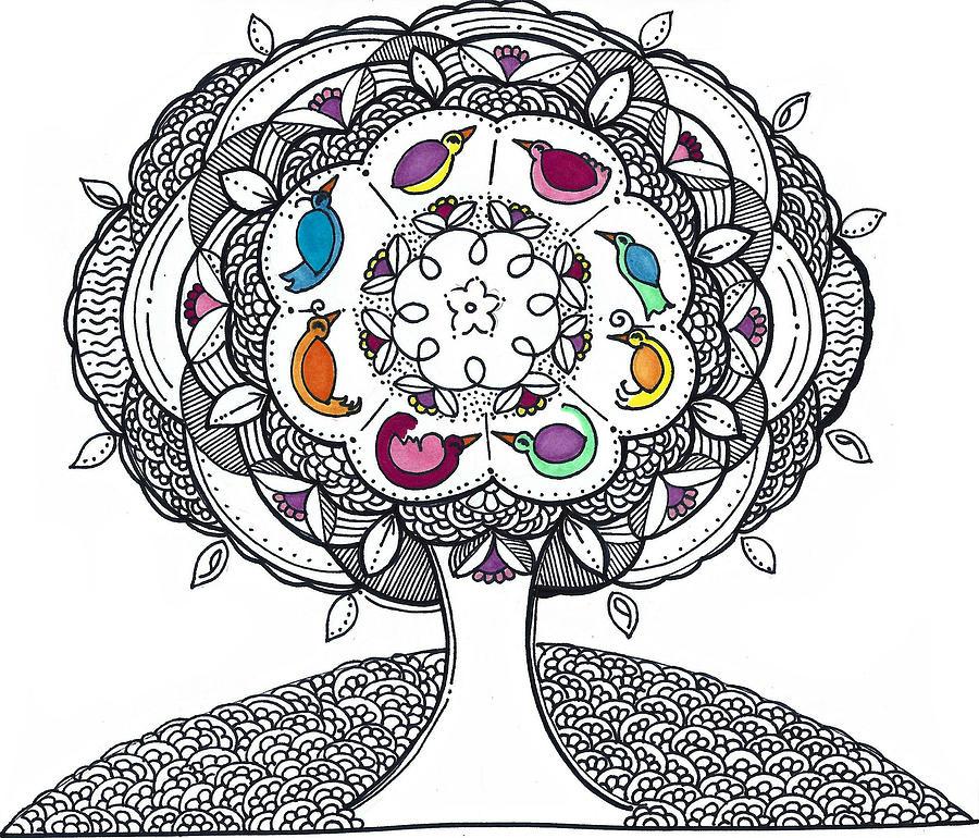 Caroline Drawing - Tree of Life - Ink drawing by Caroline Sainis