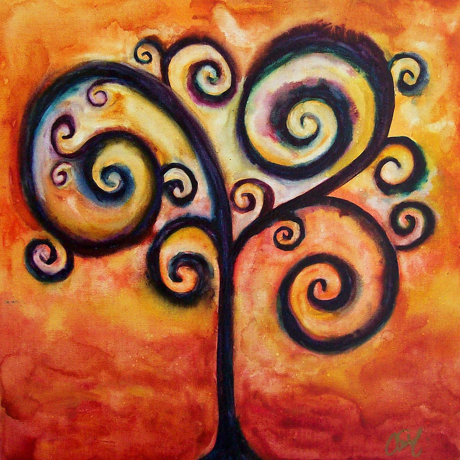 Tree Painting - Tree Of Life Orange by Christy Freeman Stark