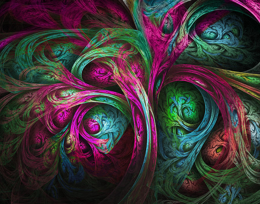 Fractal Digital Art - Tree Of Life-pink And Blue by Tammy Wetzel